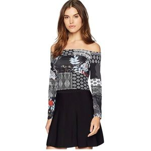 GUESS Long Sleeve Alma Off The Shoulder Top